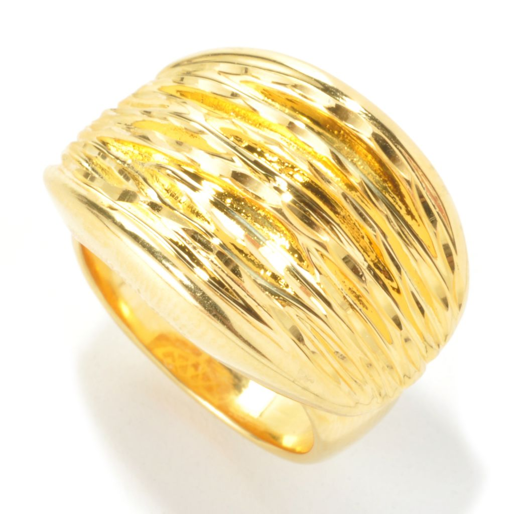 135-460 - Toscana Italiana 18K Gold Embraced™ Textured Oval East-West Ring