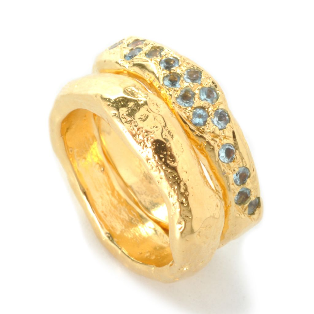 135-461 - Toscana Italiana 18K Gold Embraced™ Set of Two Gem & Hammered Freeform Stack Band Rings