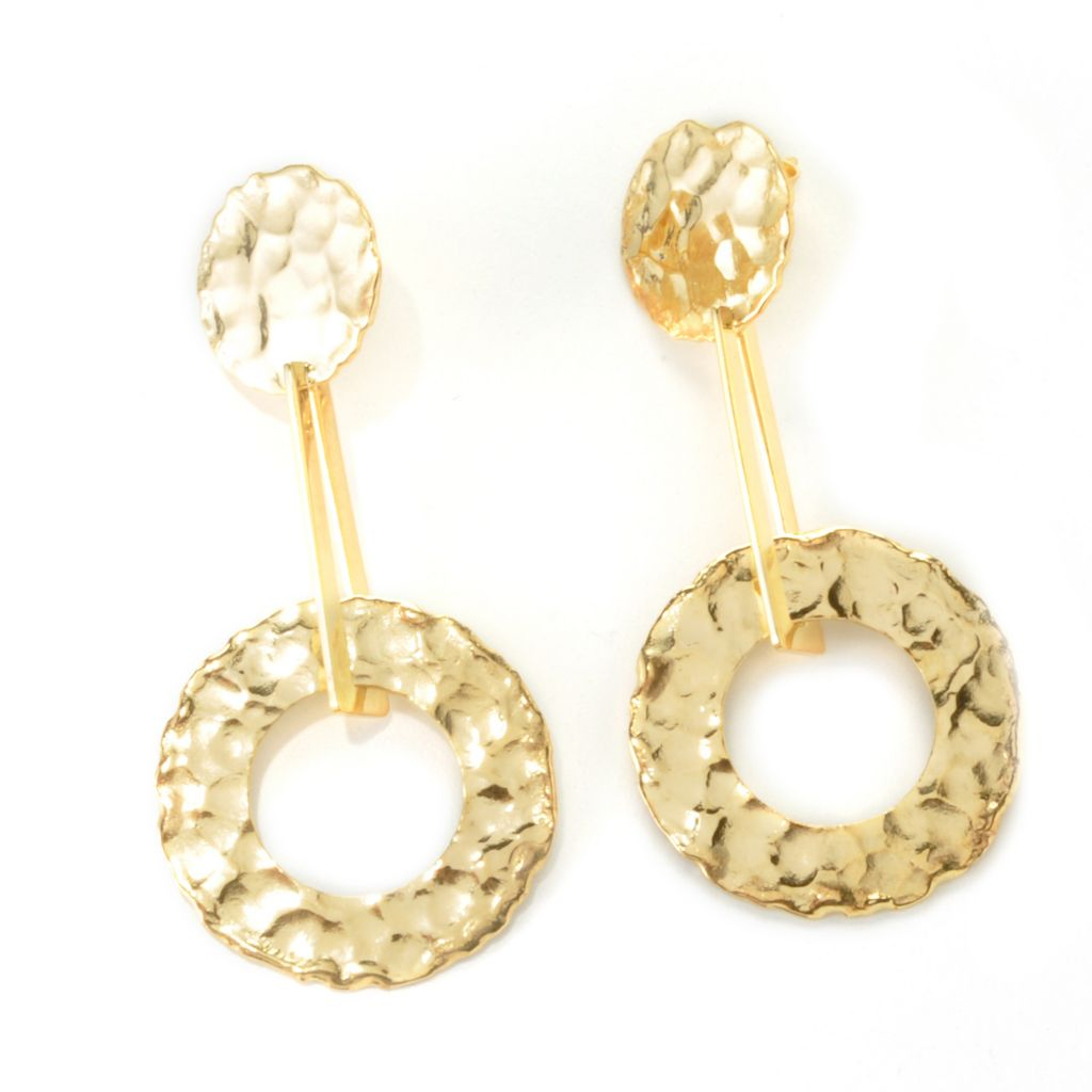 "135-463 - Toscana Italiana Gold Embraced™ 2.25"" Hammered Cut-out Disk Drop Earrings"