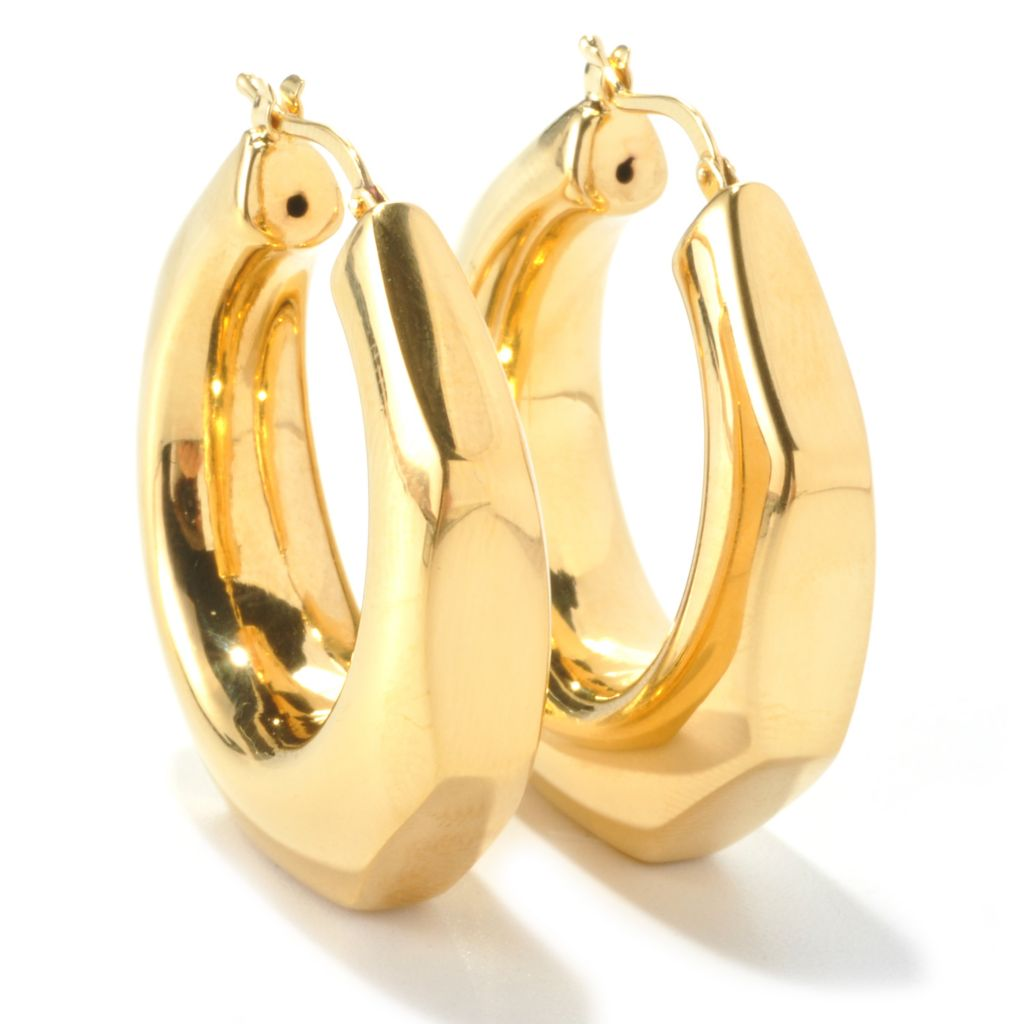 "135-464 - Toscana Italiana Gold Embraced™ 1.25"" Octagonal High Polished Hoop Earrings"