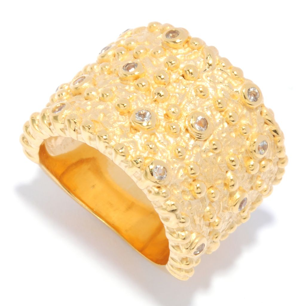 135-465 - Toscana Italiana 18K Gold Embraced™ White Topaz Textured Wide Band Ring