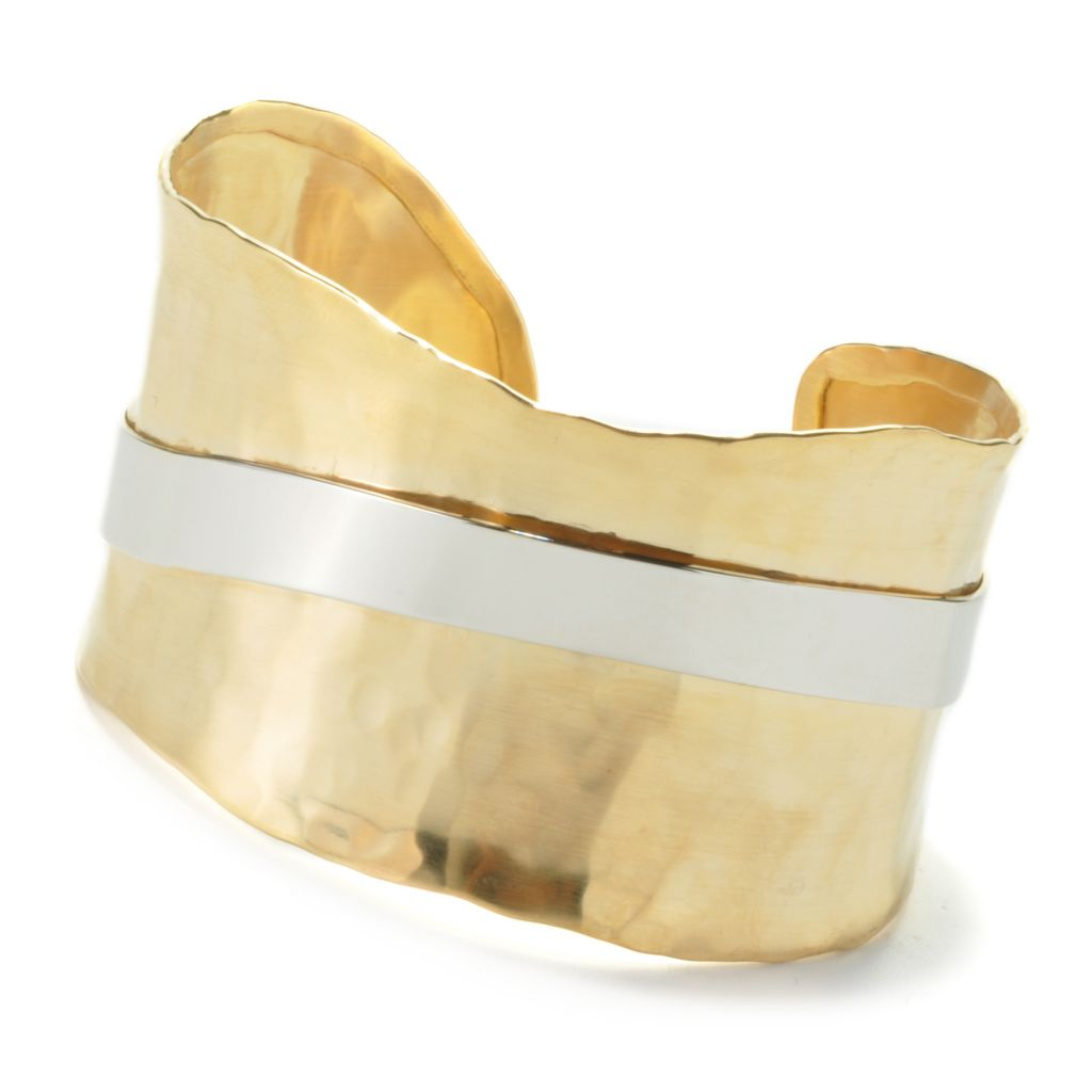 "135-467 - Toscana Italiana 18K Gold Embraced™ 7.5"" Hammered Freeform Panel Cuff Bracelet"