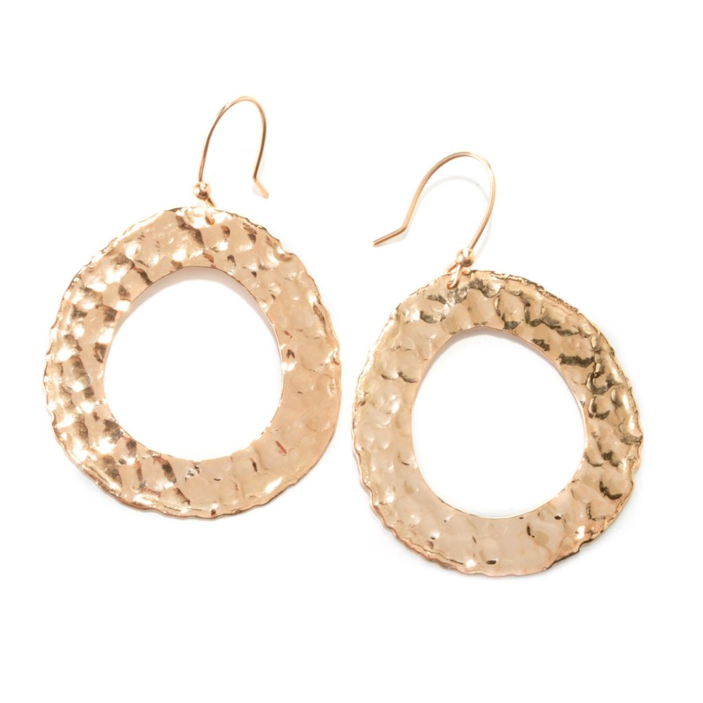 "135-468 - Toscana Italiana 18K Gold Embraced™ 2.25"" Hammered Oval Cut-out Drop Earrings"