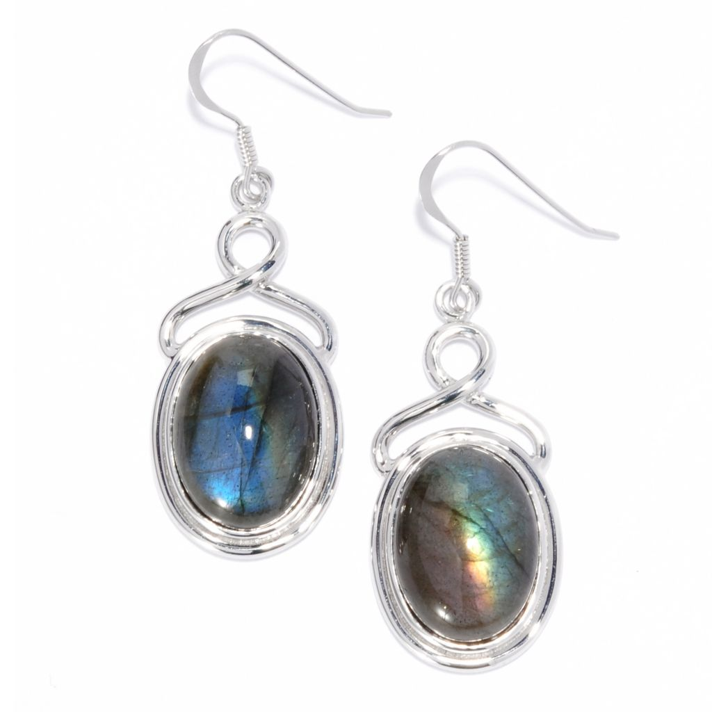 "135-471 - Gem Insider Sterling Silver 1.75"" 18 x 13mm Labradorite Twist Drop Earrings"