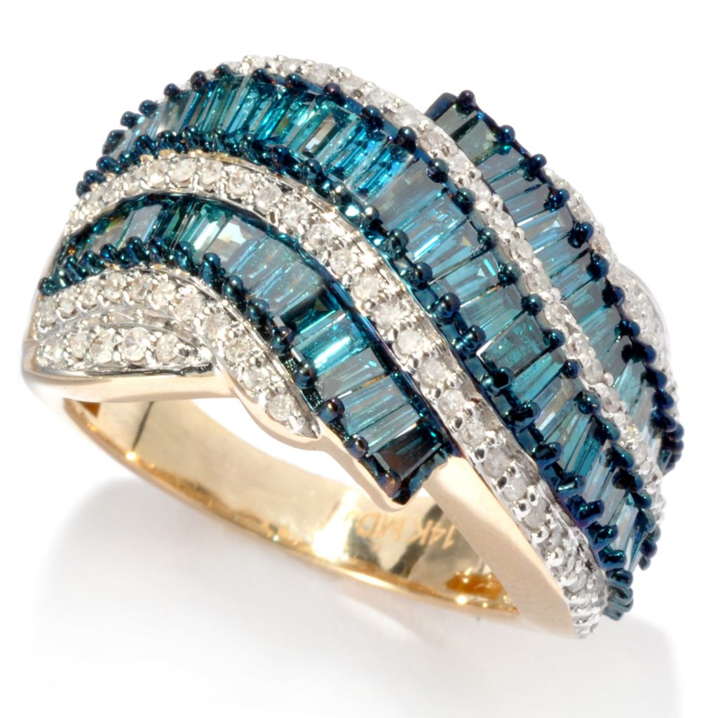 135-472 - Diamond Treasures 14K Gold 1.50ctw Fancy Color Diamond Baguette Multi Wave Ring
