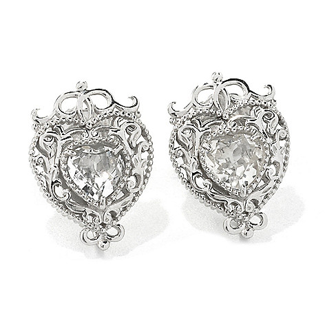135-473 - Dallas Prince Designs Sterling Silver White Topaz Filigree Halo Stud Earrings