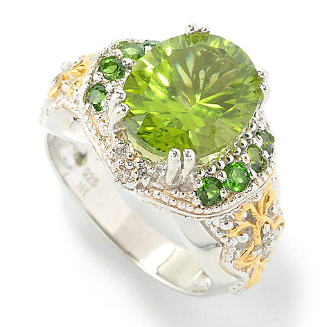 135-477 - Gems en Vogue II 4.22ctw Oval Peridot, Chrome Diopside & Diamond Ring