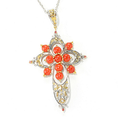 135-478 - Gems en Vogue Sardinian Coral & Orange Sapphire Cross Pendant w/ 18'' Chain