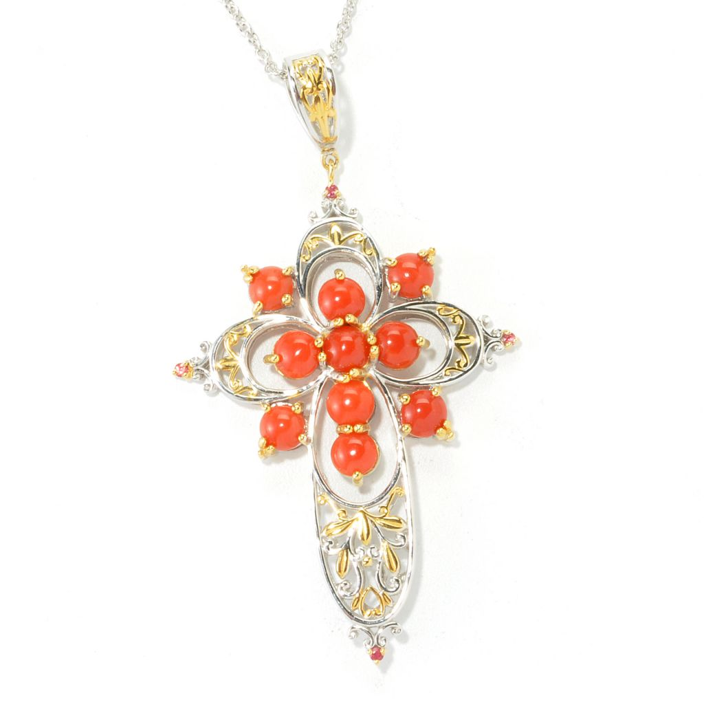 "135-478 - Gems en Vogue II Sardinian Coral & Orange Sapphire Cross Pendant w/ 18"" Chain"