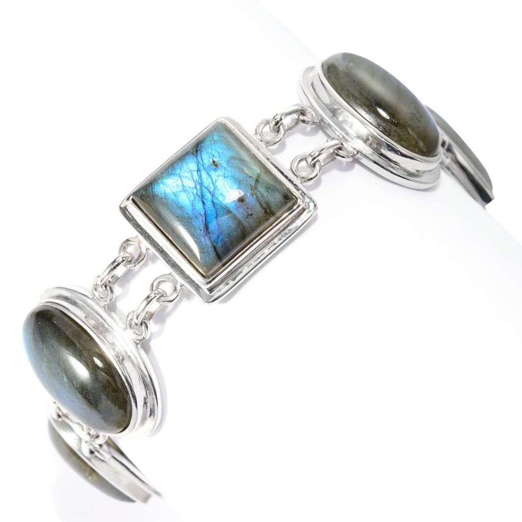 135-483 - Gem Insider Sterling Silver Multi Shape Gem Adjustable Toggle Bracelet