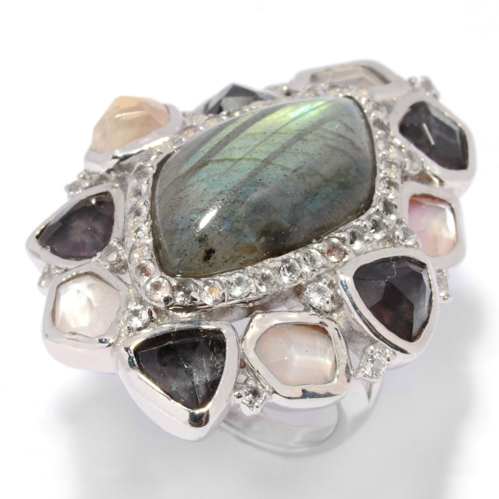 135-484 - Gem Insider Sterling Silver 20 x 12mm Freeform Labradorite & Multi Gem Ring