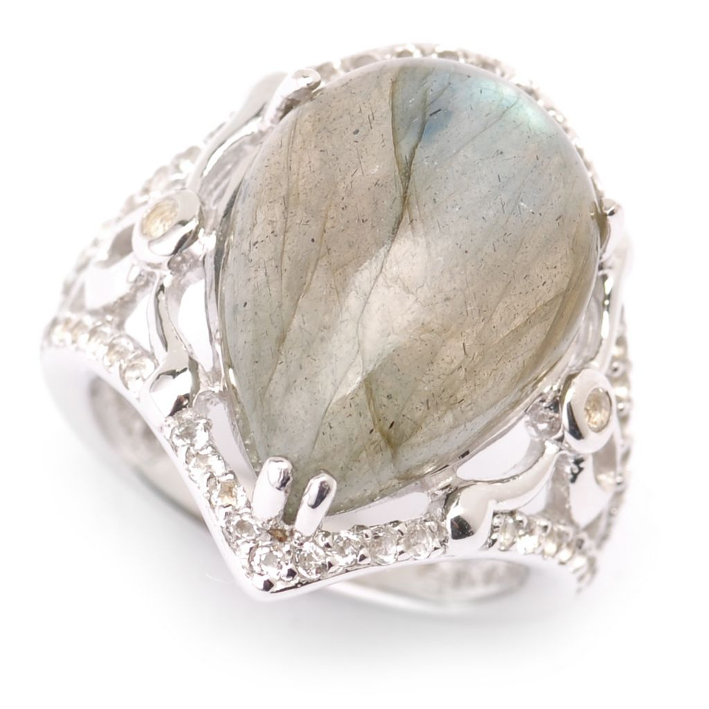 135-485 - Gem Insider Sterling Silver 18 x 13mm Pear Shaped Labradorite & White Topaz Ring