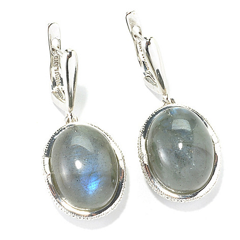 135-486 - Gem Insider 1.25'' Sterling Silver  16 x 12mm Oval Labradorite Drop Earrings