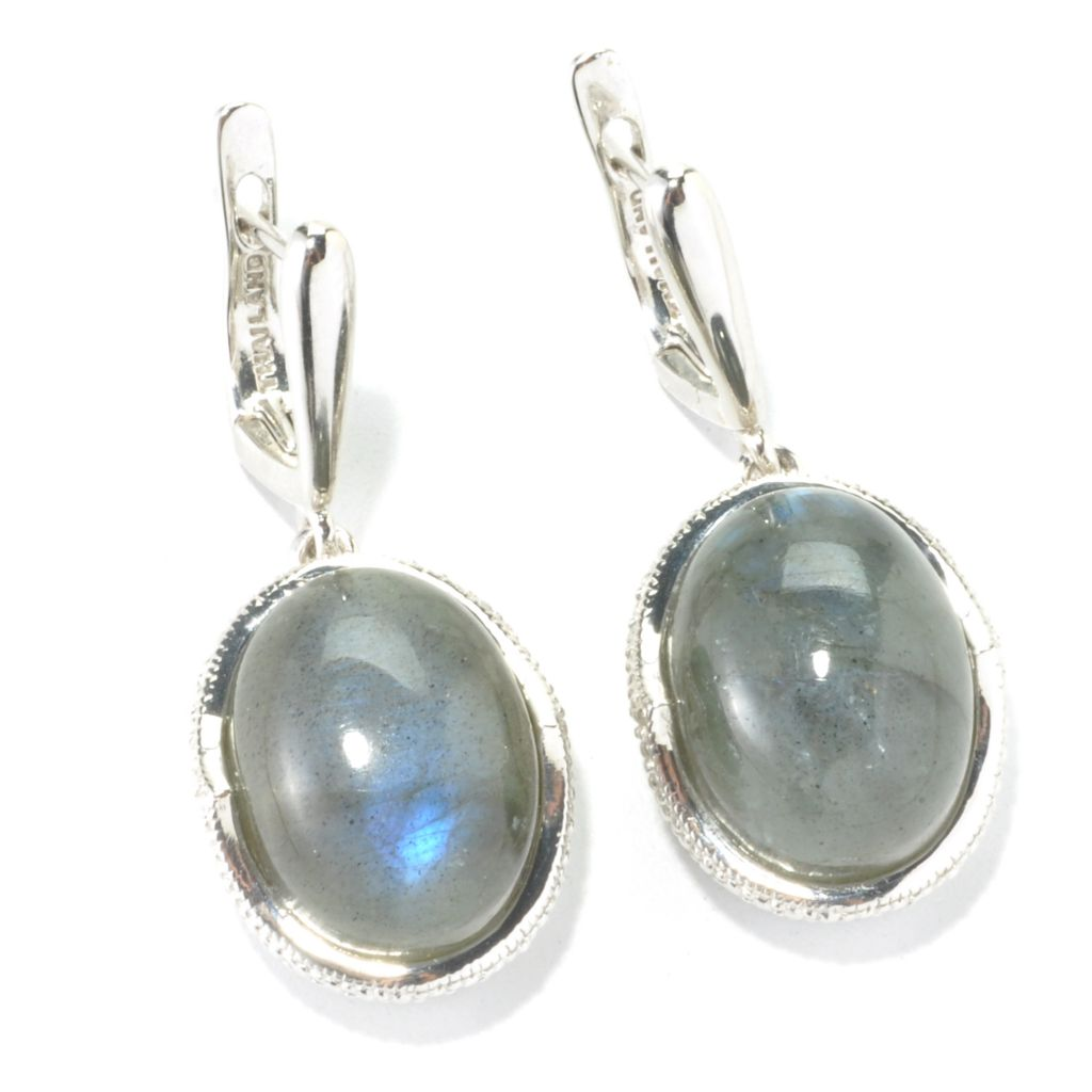 "135-486 - Gem Insider 1.25"" Sterling Silver  16 x 12mm Oval Labradorite Drop Earrings"
