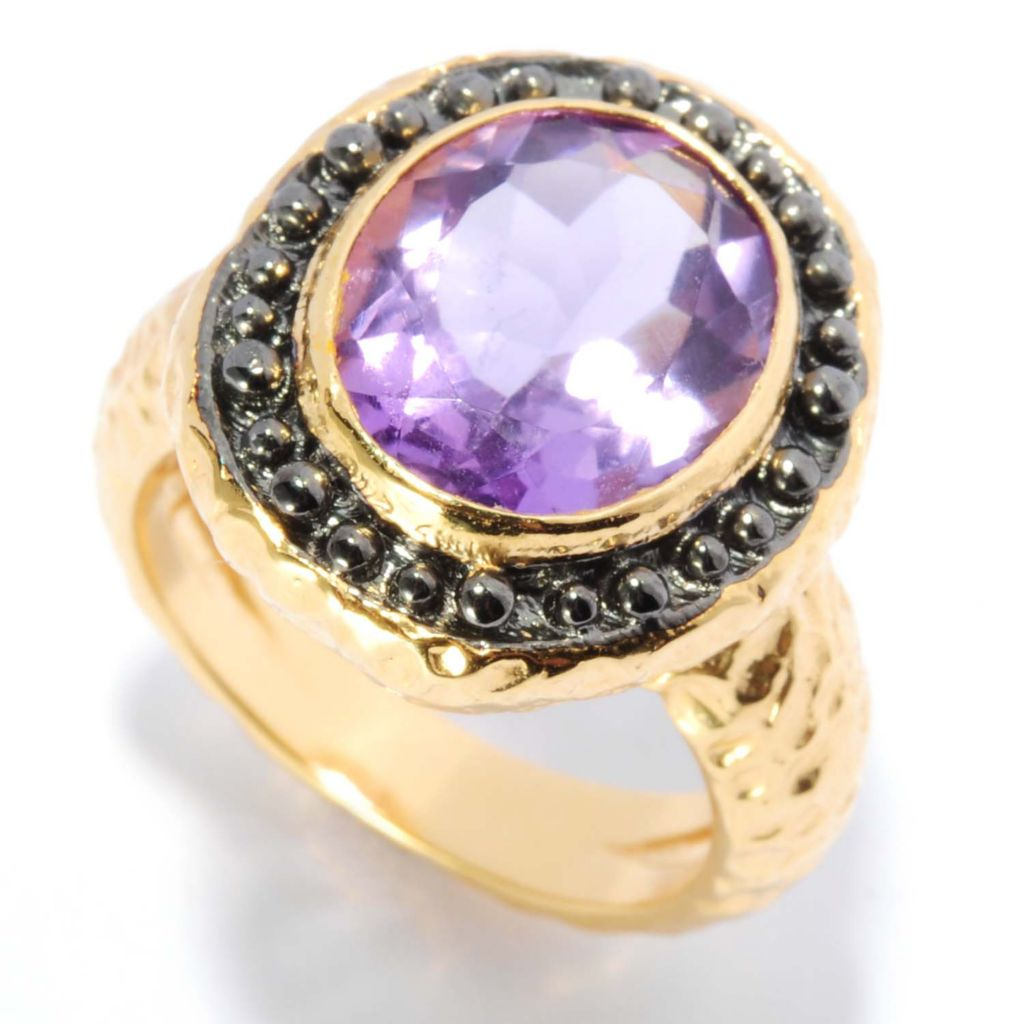 135-497 - Toscana Italiana 18K Gold Embraced™ 3.80ctw Oval Amethyst Hammered Ring