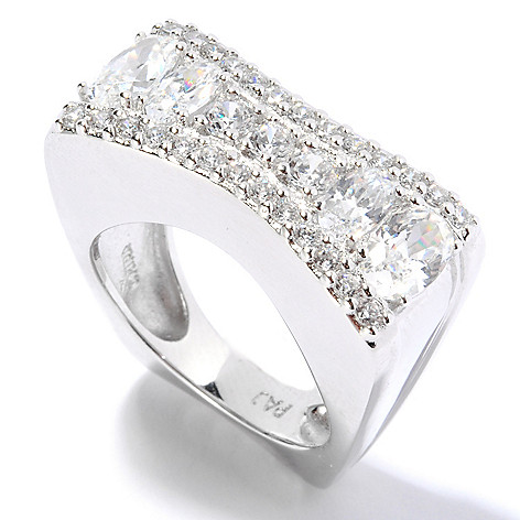 135-499 - Brilliante® Platinum Embraced™ 1.89 DEW Pave Set Simulated Diamond Concave Ring