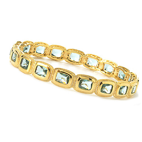 135-500 - Brilliante® Gold Embraced™ Cushion Cut Simulated Gemstone Bangle Bracelet