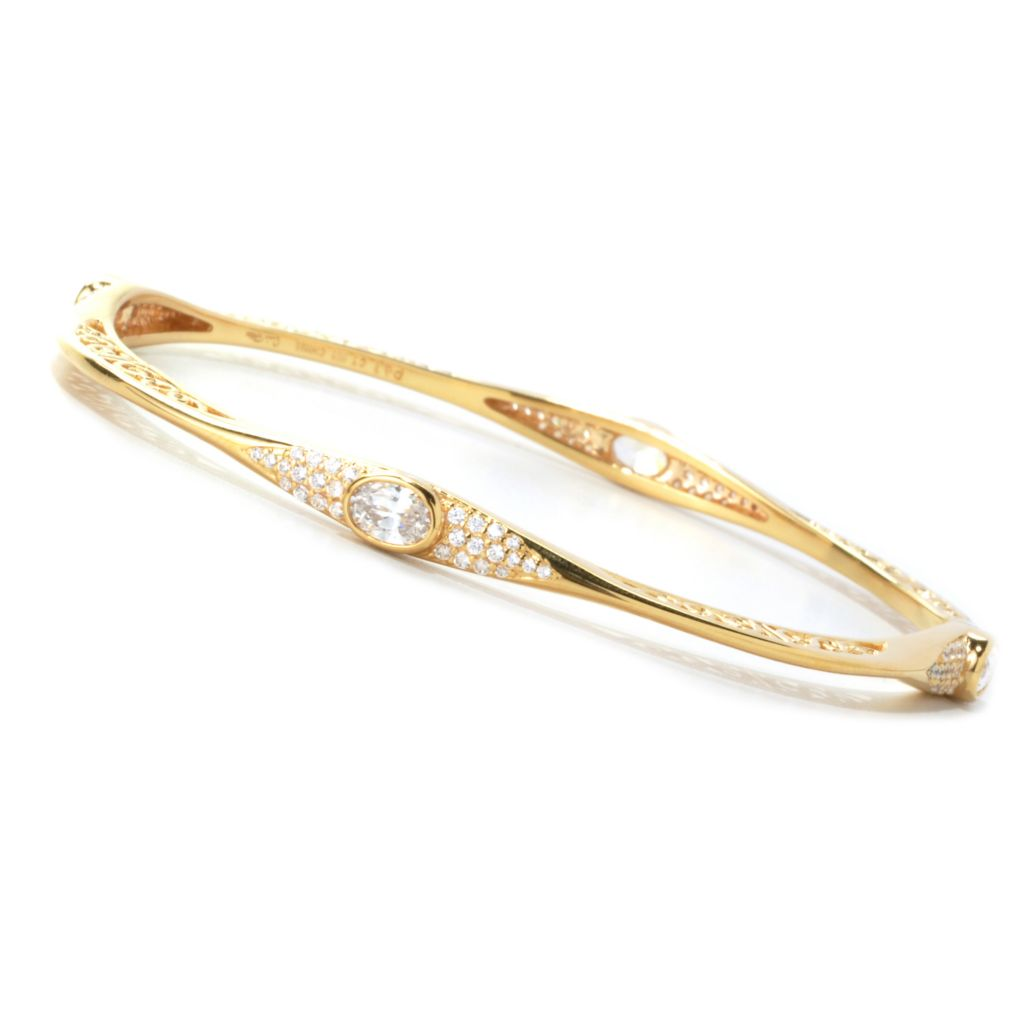 135-502 - Sonia Bitton 2.76 DEW Simulated Diamond Square Filigree Bangle Bracelet