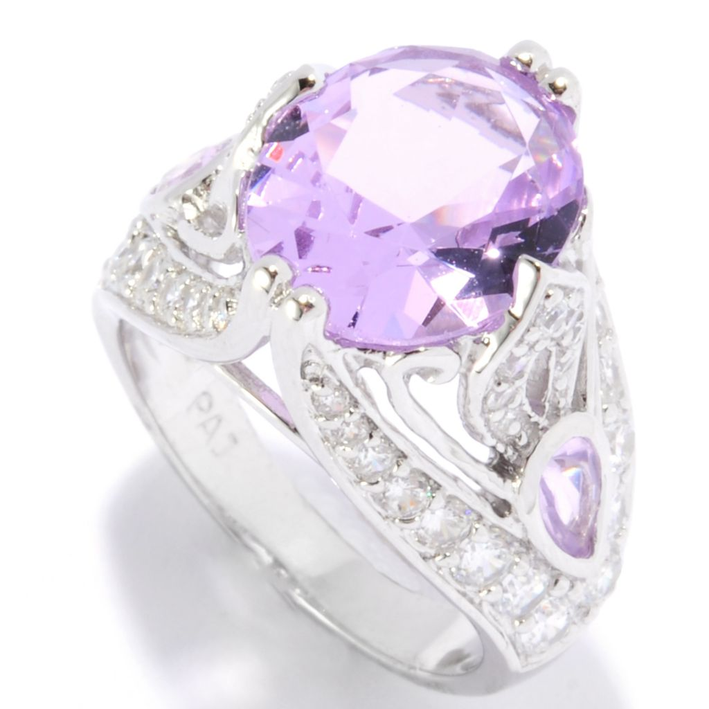 135-509 - Brilliante® 12 x 10mm Oval Simulated Kunzite Raised Setting Fancy Shank Ring