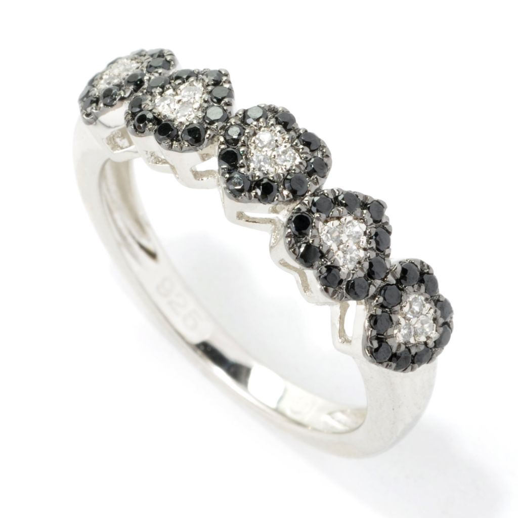 135-510 - NYC II Black Spinel & White Zircon Heart Stack Band Ring