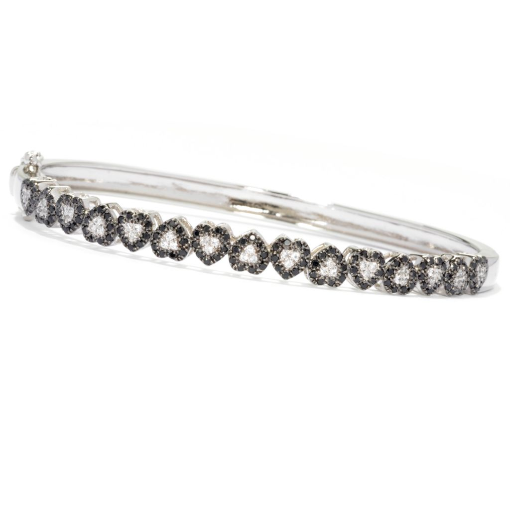 135-511 - NYC II Black Spinel & White Zircon Heart Hinged Bangle Bracelet
