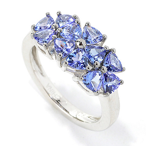 135-514 - NYC II 1.54ctw Trillion Tanzanite Three-Flower Band Ring