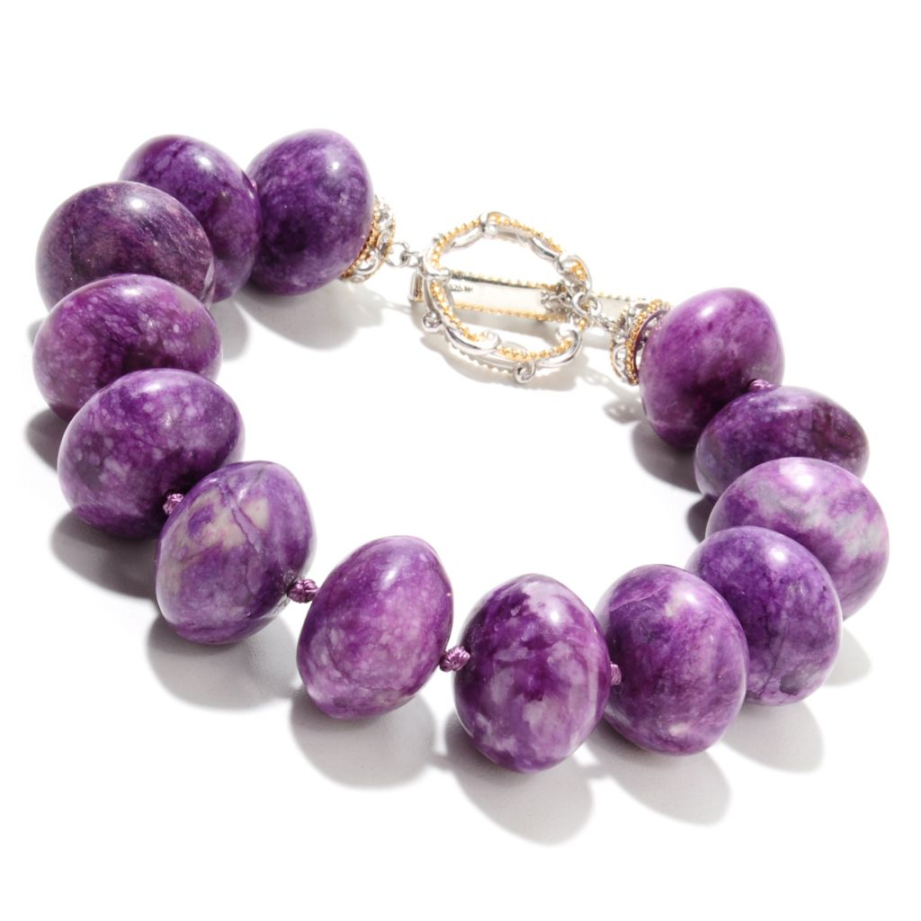 "135-515 - Gems en Vogue II 8.5"" 18 x 12mm Sugilite Bead Toggle Bracelet"