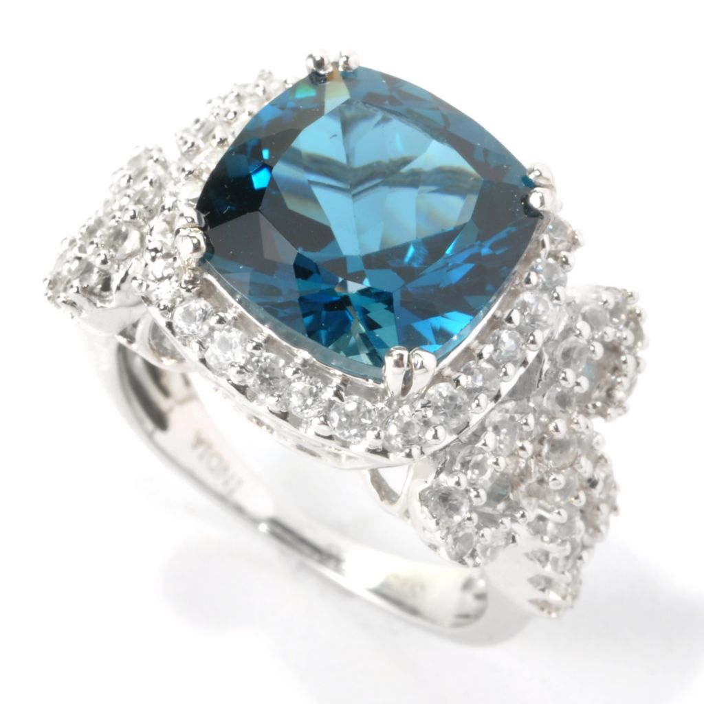 135-518 - NYC II 6.56ctw London Blue Topaz & White Zircon Bow Shank Ring