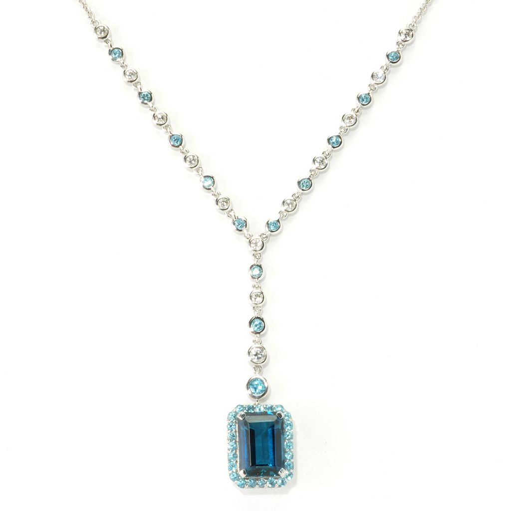 "135-519 - NYC II 20.25"" 10.56ctw London Blue Topaz, Swiss Blue Topaz & White Zircon Necklace"