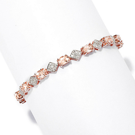 135-520 - NYC II Oval Morganite & White Zircon Tennis Bracelet