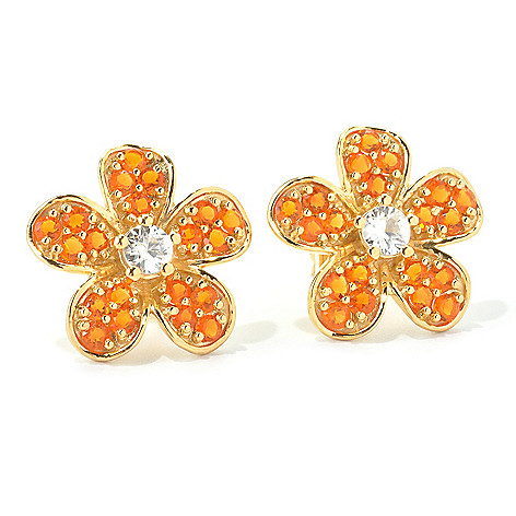 135-521 - NYC II Gemstone & White Zircon Flower Stud Earrings