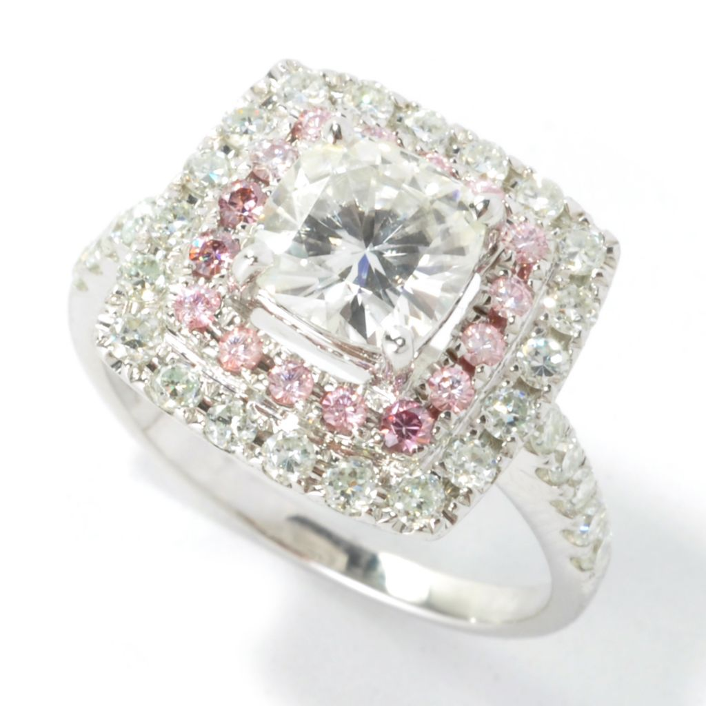 135-529 - Forever Brilliant® Moissanite 14K White Gold 2.08 DEW Pink & White Halo Ring