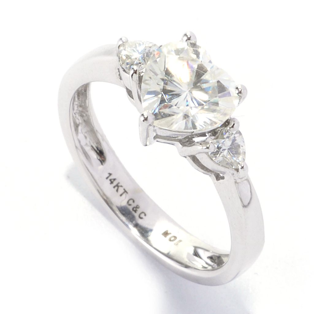 135-530 - Forever Brilliant® Moissanite 14K Gold 1.40 DEW Heart Shaped Three-Stone Ring