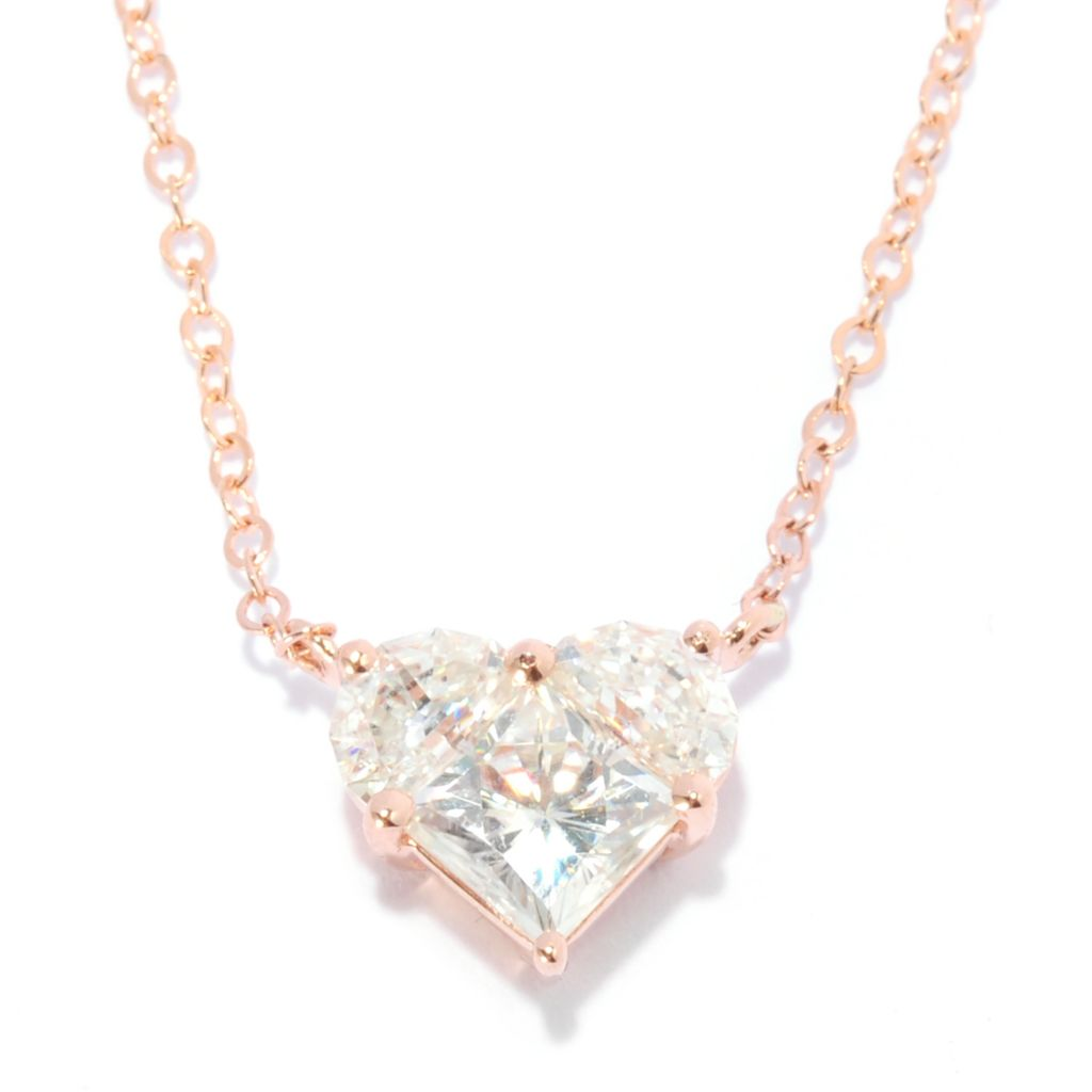 "135-533 - Forever Brilliant® Moissanite 14K Gold 18.5"" 1.26 DEW Heart Necklace"
