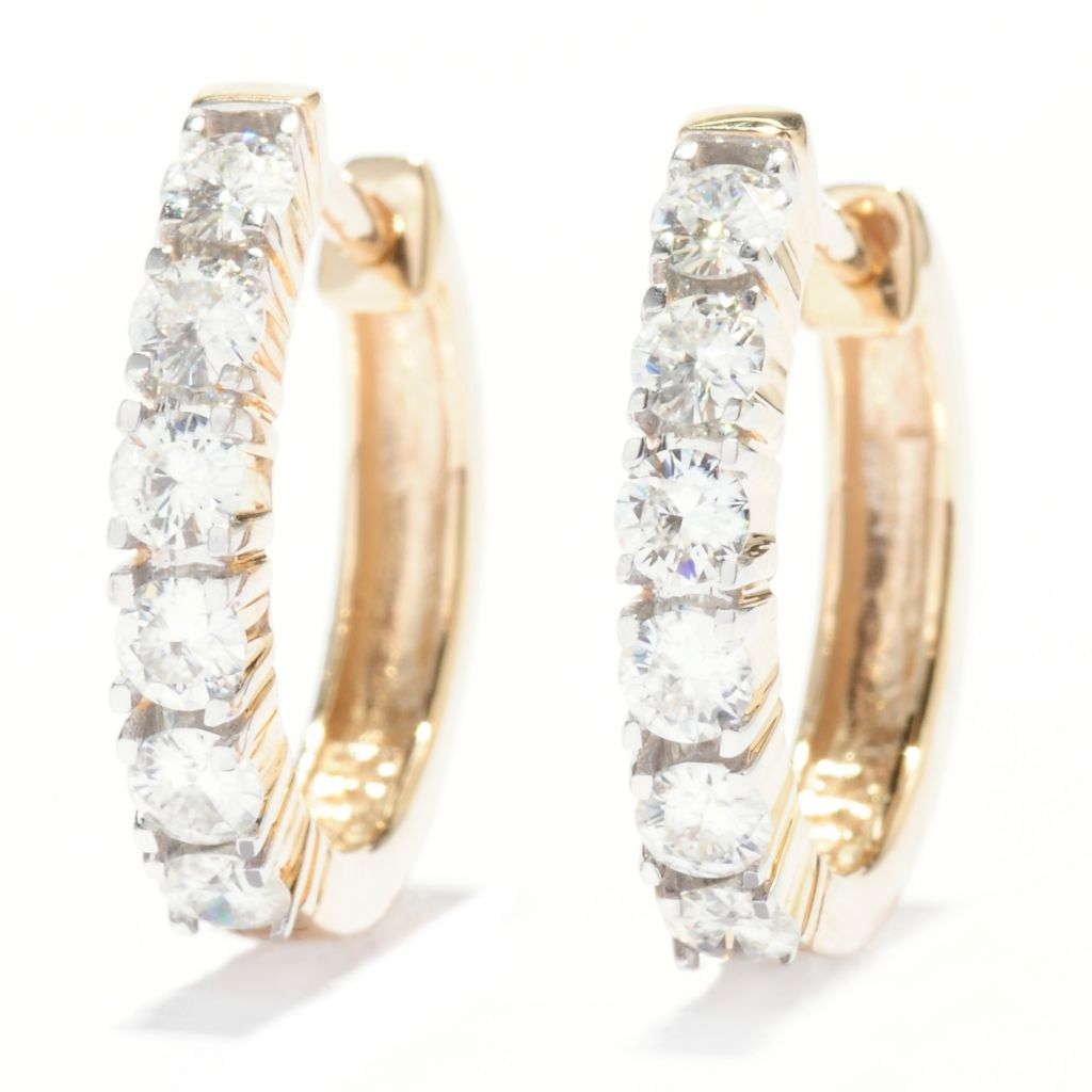 135-535 - Forever Brilliant® Moissanite 14K Gold Six-Stone Huggie Hoop Earrings