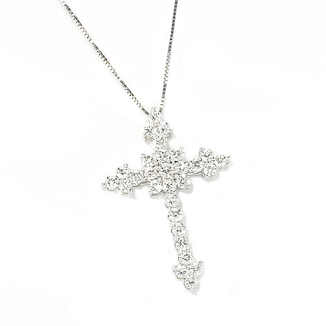 135-536 - Forever Brilliant® Moissanite 14K Gold Cross Pendant w/ 18'' Chain