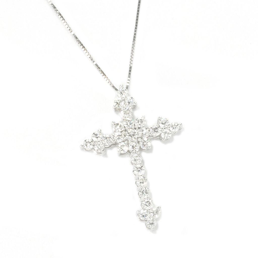 "135-536 - Forever Brilliant® Moissanite 14K Gold Cross Pendant w/ 18"" Chain"