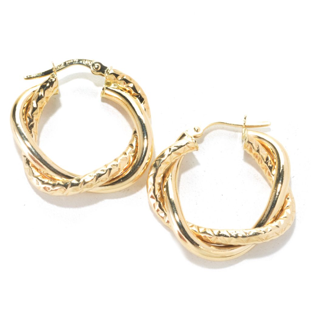 135-544 - Italian Designs with Stefano 14K Gold Twisted & Textured Hoop Earrings