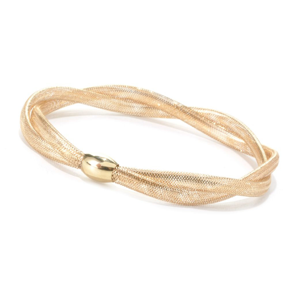 "135-547 - Italian Designs with Stefano 14K Gold 6.75"" Twisted Stretch Mesh Bangle Bracelet, 1.66 grams"