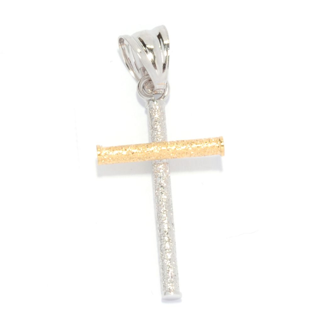 135-558 - Italian Designs with Stefano 14K Two-tone Gold Textured Cross Pendant