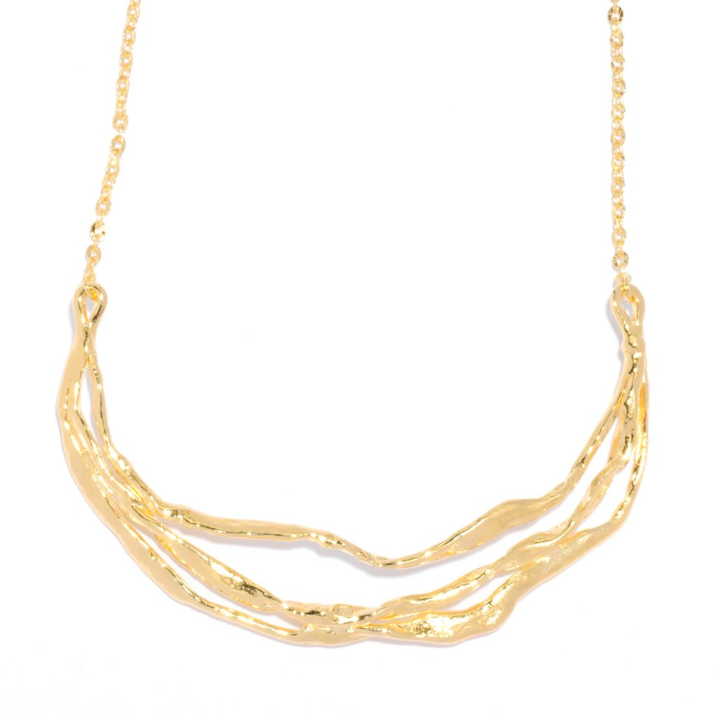 "135-562 - Toscana Italiana 18K Gold Embraced™ 18"" Freeform Hammered Layer Station Necklace"