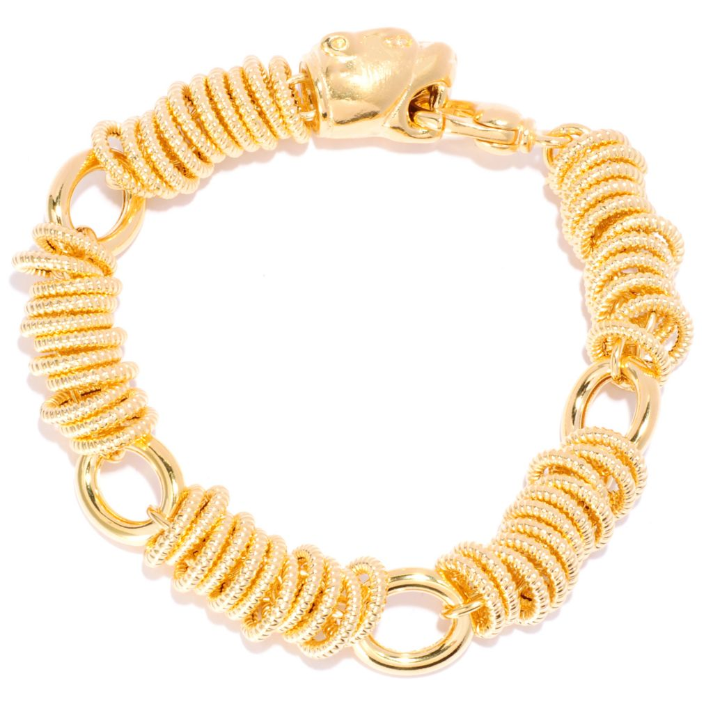 135-563 - Toscana Italiana 18K Gold Embraced™ Polished Panther Status Link Bracelet