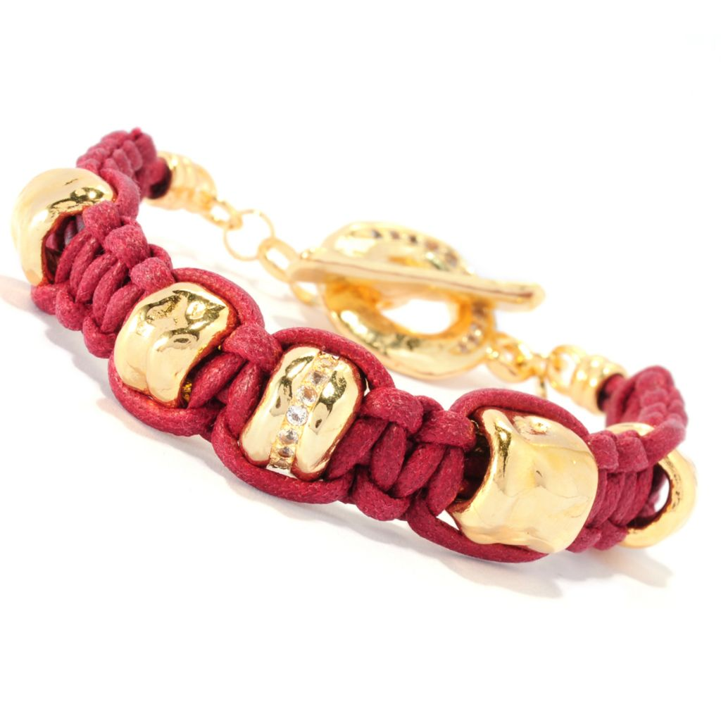 "135-565 - Toscana Italiana 18K Gold Embraced™ 7.5"" White Topaz Braided Cord Toggle Bracelet"