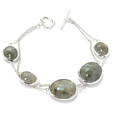 135-566 - Gem Insider Sterling Silver 7.5'' 17 x 14mm Labradorite Toggle Bracelet