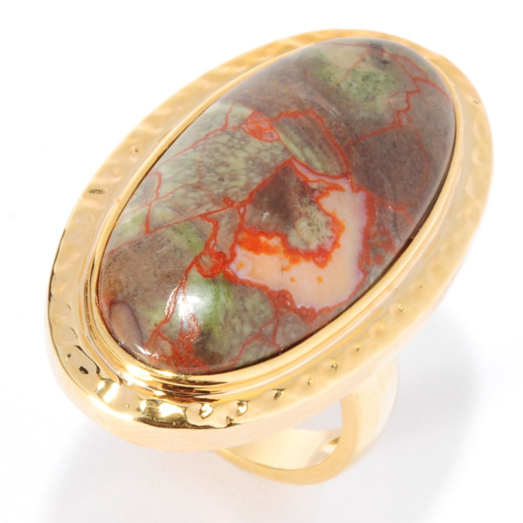 135-567 - Elements by Sarkash 30 x 15mm Oval Jasper Hammered Elongated Ring