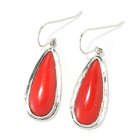 135-572 - Gem Insider™ Sterling Silver 25 x 10mm Red Coral 1.5'' Teardrop Earrings