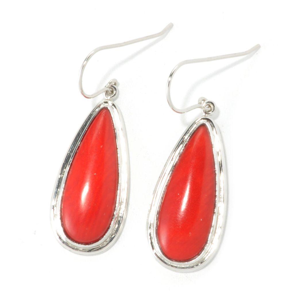"135-572 - Gem Insider Sterling Silver 25 x 10mm Red Coral 1.5"" Teardrop Earrings"