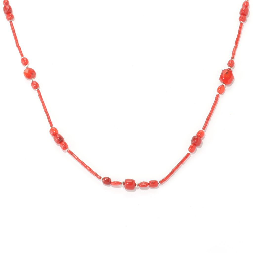 "135-573 - Gem Insider Sterling Silver 36"" Red Coral Bead Necklace"