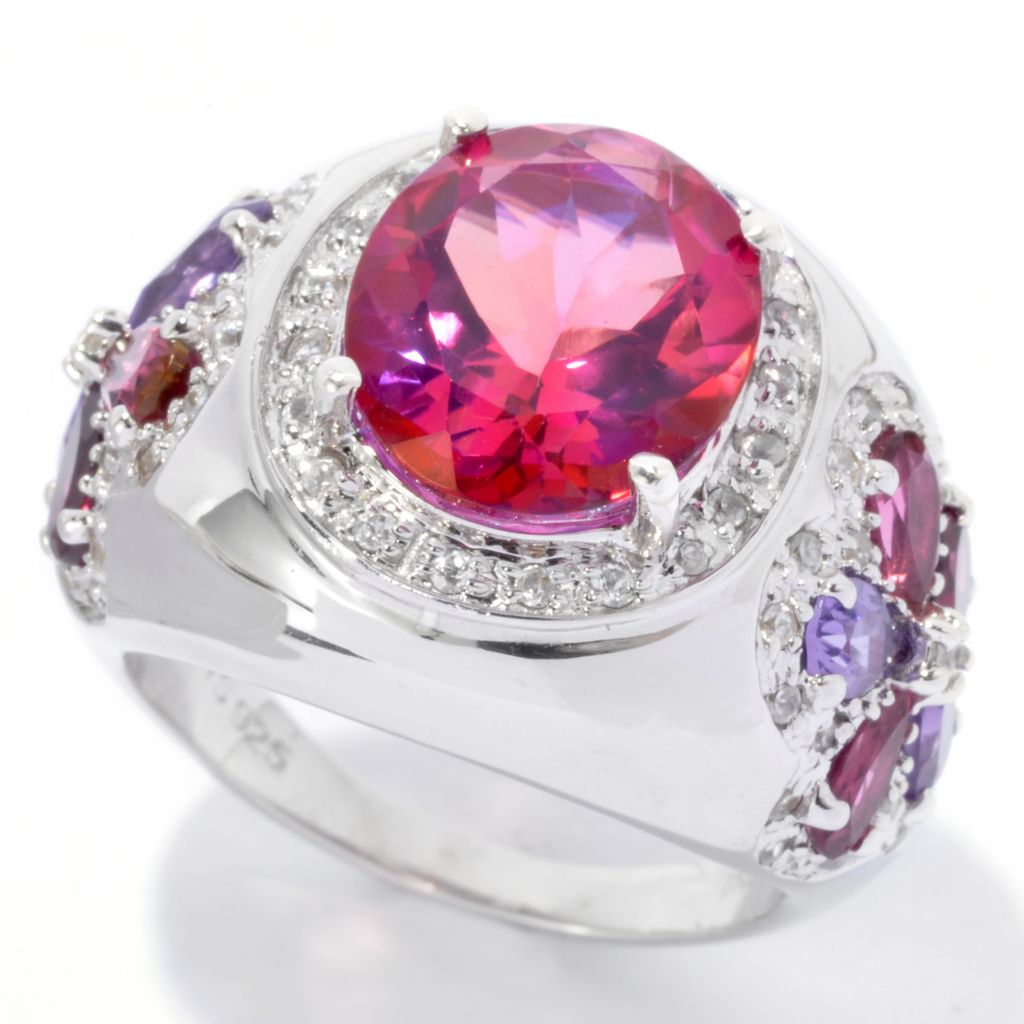 135-576 - NYC II Exotic Quartz & Multi Gemstone Flower Accent Cocktail Ring