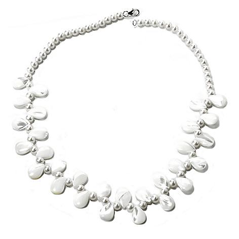 135-577 - Sterling Silver 5-6mm Freshwater Cultured Pearl & Mother-of-Pearl 20'' Necklace